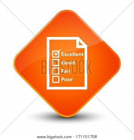 Questionnaire Icon Special Orange Diamond Button