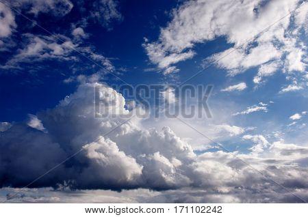 summer landscape beautiful cumulus clouds. Europe. Beauty world