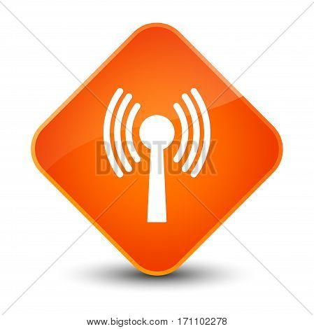 Wlan Network Icon Special Orange Diamond Button