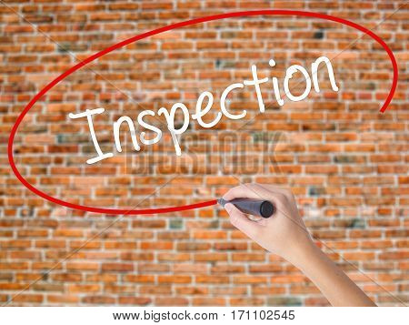 Woman Hand Writing Inspection With Black Marker On Visual Screen