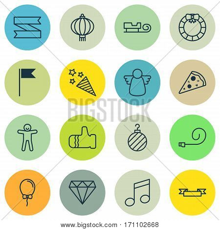 Set Of 16 Happy New Year Icons. Includes Placard, Flag Point, Crotchets And Other Symbols. Beautiful Design Elements.