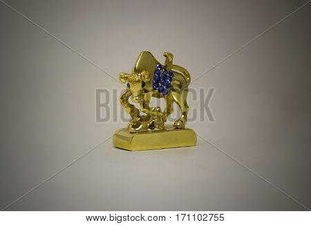 Taurus bull figurine metal with blue rhinestones