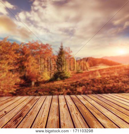 mountain range in the Carpathian Mountains in the autumn season. Fantastic sunset. Ukraine, Europe. Natural blurred background. Soft light effect.