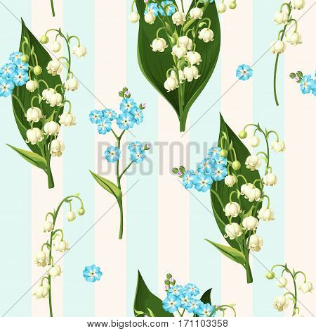 Lily of the valley and forget me not vector seamless background
