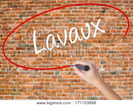 Woman Hand Writing Lavaux  With Black Marker On Visual Screen