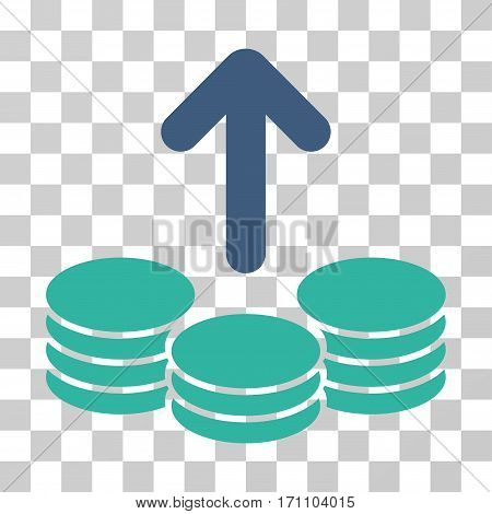 Payout Coins icon. Vector illustration style is flat iconic bicolor symbol cobalt and cyan colors transparent background. Designed for web and software interfaces.