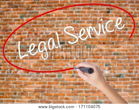 Woman Hand Writing Legal Service With Black Marker On Visual Screen