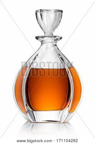 Carafe with whiskey isolated on a white background
