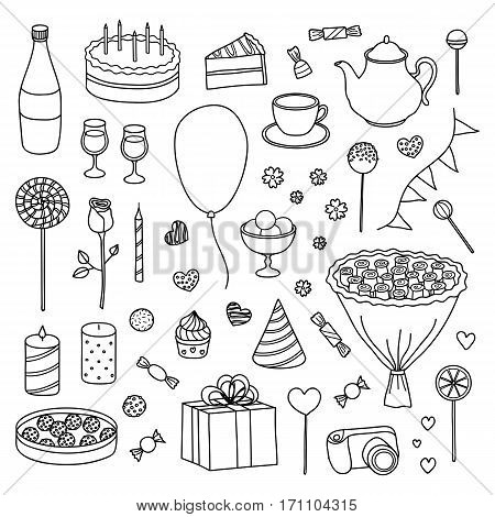 Hand drawn collection of outline items for birthday, wedding and Valentine's day isolated on white background.