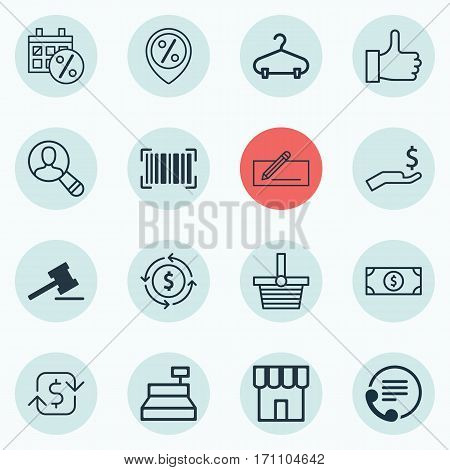 Set Of 16 E-Commerce Icons. Includes Buck, Telephone, Black Friday And Other Symbols. Beautiful Design Elements.