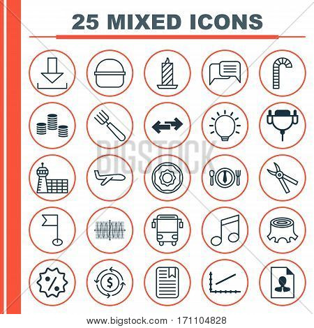 Set Of 25 Universal Editable Icons. Can Be Used For Web, Mobile And App Design. Includes Elements Such As Tree Stub, Line Graph, Air Transport And More.