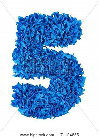 Five. Handmade number 5 from blue crepe paper isolated on white background. Set of numbers from scraps of paper