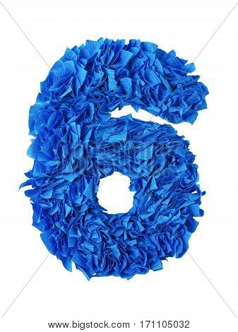 Six. Handmade number 6 from blue crepe paper isolated on white background. Set of numbers from scraps of paper