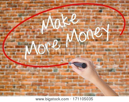 Woman Hand Writing Make Money Money  With Black Marker On Visual Screen