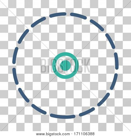 Round Area icon. Vector illustration style is flat iconic bicolor symbol cobalt and cyan colors transparent background. Designed for web and software interfaces.