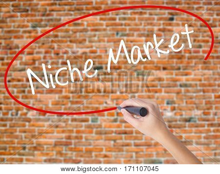 Woman Hand Writing Niche Market With Black Marker On Visual Screen.