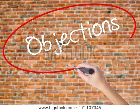 Woman Hand Writing Objections  With Black Marker On Visual Screen