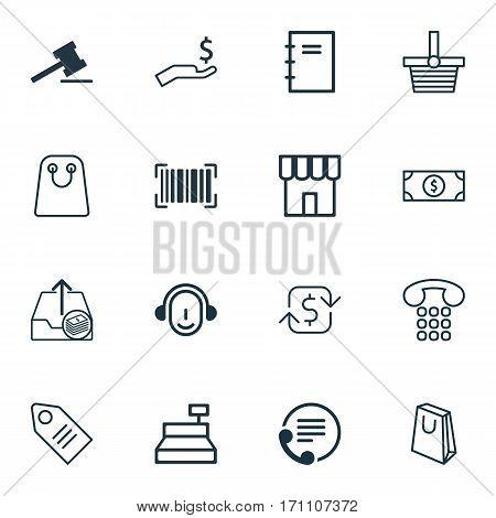 Set Of 16 E-Commerce Icons. Includes Till, Handbag, Gavel Symbols. Beautiful Design Elements.