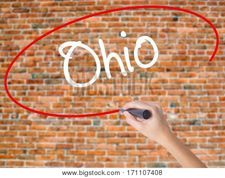 Woman Hand Writing Ohio  With Black Marker On Visual Screen