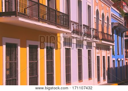 Colorful facades and ironwork in Old San Juan
