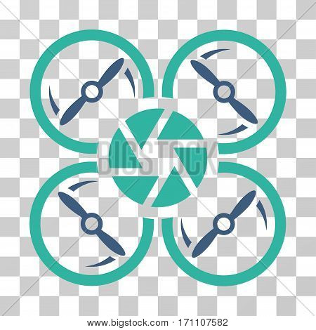 Shutter Drone icon. Vector illustration style is flat iconic bicolor symbol cobalt and cyan colors transparent background. Designed for web and software interfaces.