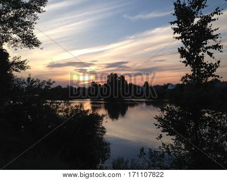 Sunset  in summer evening at river Volga near Kazan, Russia