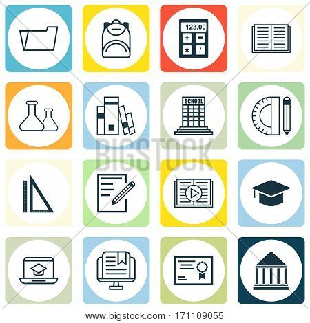 Set Of 16 Education Icons. Includes Electronic Tool, Taped Book, Education Center And Other Symbols. Beautiful Design Elements.