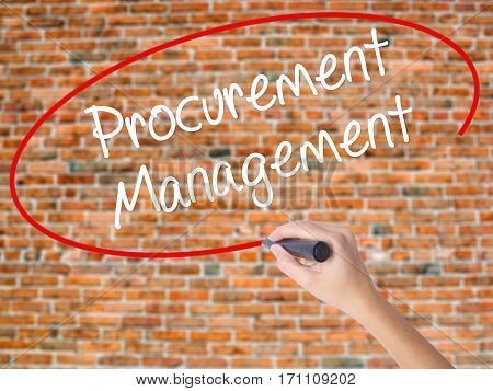 Woman Hand Writing Procurement Management With Black Marker On Visual Screen.