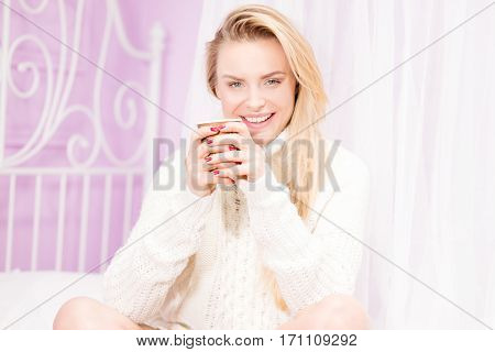 Happy Girl With Cup Of Tea.