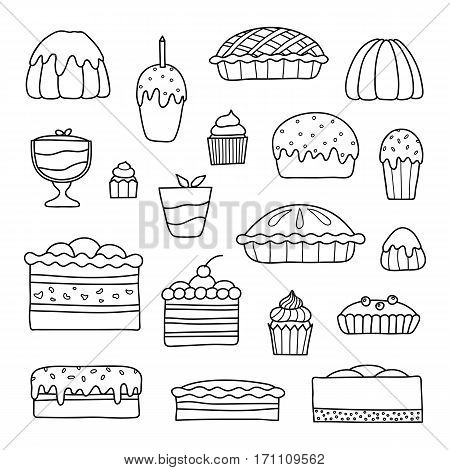 Collection of cute doodle outline cakes for birthday, easter, party, sweet cafe isolated on white background.