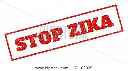 Red rubber seal stamp with Stop Zika text. Glyph tag inside rectangular frame. Grunge design and unclean texture for watermark labels. Inclined sticker.
