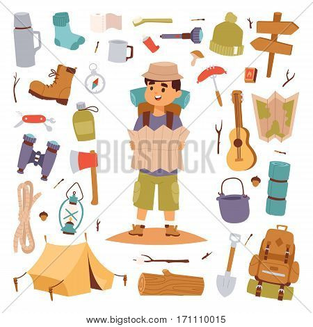 Camping outdoor travel tourist man holding map and vector sticker illustration