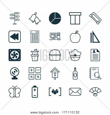 Set Of 25 Universal Editable Icons. Can Be Used For Web, Mobile And App Design. Includes Elements Such As Computer Ventilation, Box, Web Camera And More.