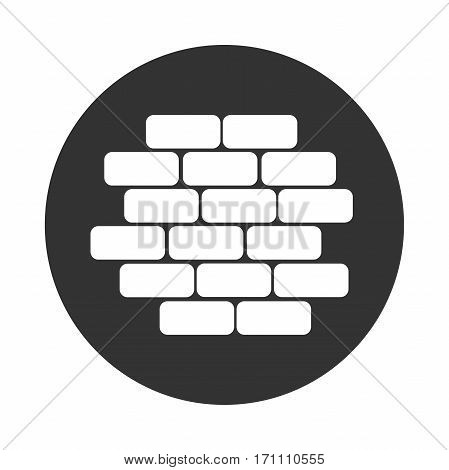 Construction brick wall icon black and white flat brickwork