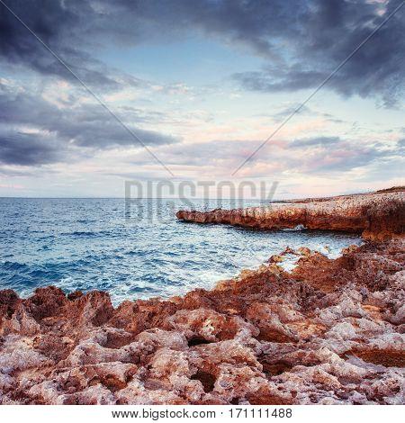 Spring panorama of sea coast city Trapany. Sicily, Italy Europe