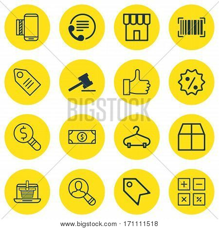 Set Of 16 E-Commerce Icons. Includes Rebate Sign, Cardboard, Shop And Other Symbols. Beautiful Design Elements.