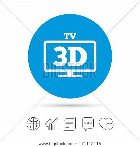 3D TV sign icon. 3D Television set symbol. New technology. Copy files, chat speech bubble and chart web icons. Vector