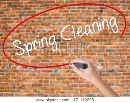 Woman Hand Writing Spring Cleaning With Black Marker On Visual Screen.
