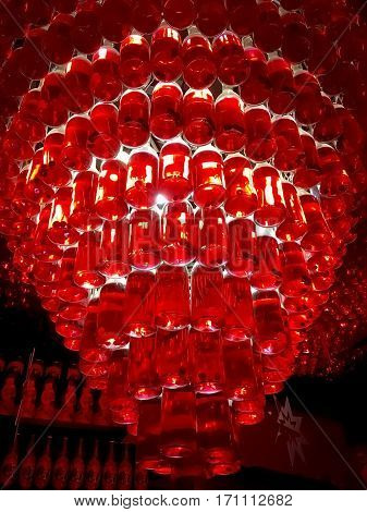 LVIV UKRAINE - DECEMBER 21: Chandelier made from bottles of cherry liqueur in the bar