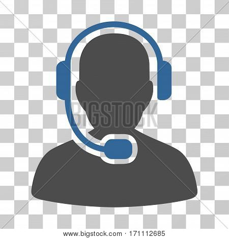 Call Center Operator icon. Vector illustration style is flat iconic bicolor symbol cobalt and gray colors transparent background. Designed for web and software interfaces.
