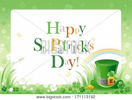 Happy Saint Patrick day. Leprechaun hat border flyer, isolated white background. Shamrock clover leaves frame, rainbow, green grass. Traditional Northern Ireland celtic holiday. Text lettering logo