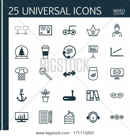 Set Of 25 Universal Editable Icons. Can Be Used For Web, Mobile And App Design. Includes Elements Such As Carnival Face, Employee, Presentation And More.
