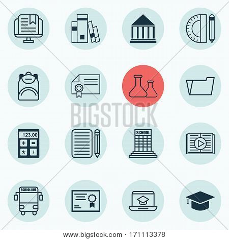 Set Of 16 Education Icons. Includes Distance Learning, Document Case, Taped Book And Other Symbols. Beautiful Design Elements.