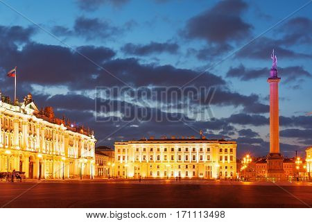 Alexander Column and Winter Palace on Palace Square during white nights, St Petersburg