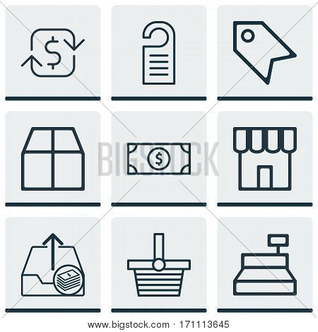 Set Of 9 Ecommerce Icons. Includes Shop, Recurring Payements, Till And Other Symbols. Beautiful Design Elements.