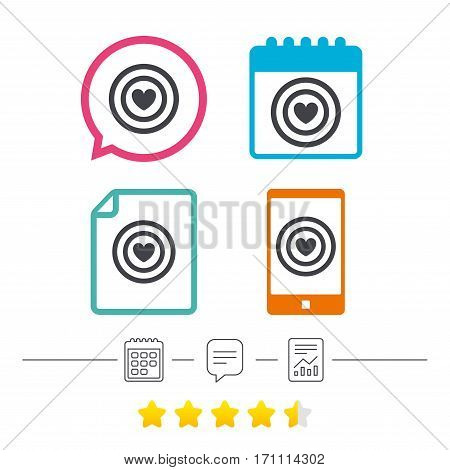 Target aim sign icon. Darts board symbol with heart in the center. Calendar, chat speech bubble and report linear icons. Star vote ranking. Vector