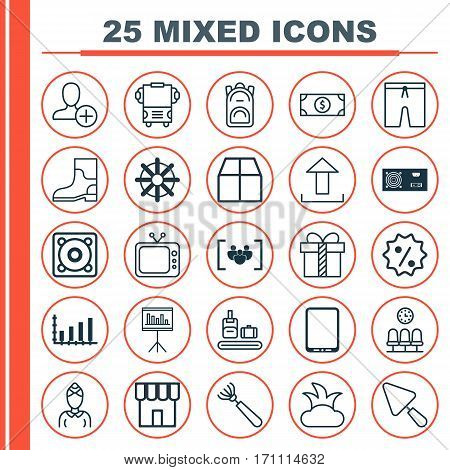 Set Of 25 Universal Editable Icons. Can Be Used For Web, Mobile And App Design. Includes Elements Such As Rubber Boot, Questionnaire, Presentation And More.