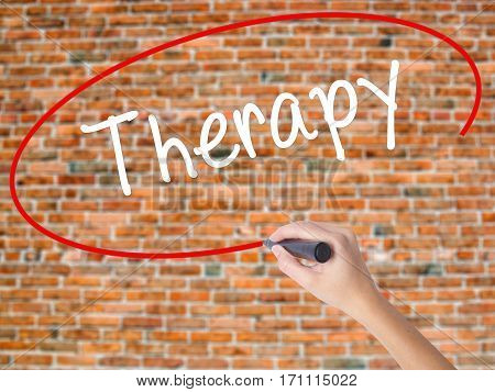 Woman Hand Writing Therapy  With Black Marker On Visual Screen