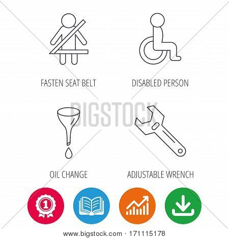 Seat belt, oil change and wrench tool icons. Disabled person linear sign. Award medal, growth chart and opened book web icons. Download arrow. Vector