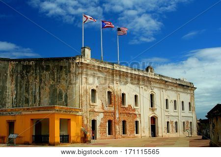 San Cristobal chapel and casement with Tres Banderas